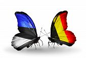 Two Butterflies With Flags On Wings As Symbol Of Relations Estonia And Belgium
