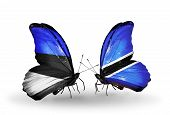 Two Butterflies With Flags On Wings As Symbol Of Relations Estonia And Botswana