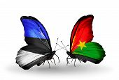 Two Butterflies With Flags On Wings As Symbol Of Relations Estonia And Burkina Faso