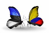 Two Butterflies With Flags On Wings As Symbol Of Relations Estonia And Columbia