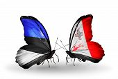 Two Butterflies With Flags On Wings As Symbol Of Relations Estonia And Malta