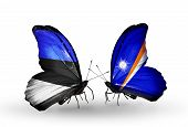 Two Butterflies With Flags On Wings As Symbol Of Relations Estonia And Marshall Islands
