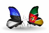 Two Butterflies With Flags On Wings As Symbol Of Relations Estonia And Mozambique