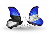 Two Butterflies With Flags On Wings As Symbol Of Relations Estonia And Nicaragua