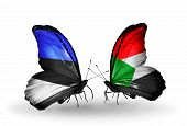 picture of sudan  - Two butterflies with flags on wings as symbol of relations Estonia and Sudan - JPG