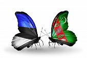 Two Butterflies With Flags On Wings As Symbol Of Relations Estonia And Turkmenistan