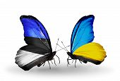 Two Butterflies With Flags On Wings As Symbol Of Relations Estonia And Ukraine