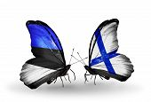 Two Butterflies With Flags On Wings As Symbol Of Relations Estonia And Finland