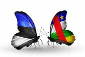 Two Butterflies With Flags On Wings As Symbol Of Relations Estonia And Central African Republic