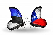 Two Butterflies With Flags On Wings As Symbol Of Relations Estonia And Chile