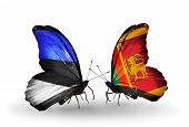 Two Butterflies With Flags On Wings As Symbol Of Relations Estonia And Sri Lanka