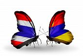 Two Butterflies With Flags On Wings As Symbol Of Relations Thailand And Armenia