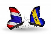 Two Butterflies With Flags On Wings As Symbol Of Relations Thailand And Barbados