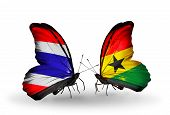 Two Butterflies With Flags On Wings As Symbol Of Relations Thailand And Ghana