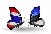 Two Butterflies With Flags On Wings As Symbol Of Relations Thailand And Estonia