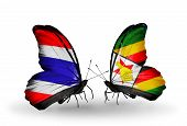 Two Butterflies With Flags On Wings As Symbol Of Relations Thailand And Zimbabwe