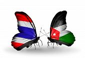 Two Butterflies With Flags On Wings As Symbol Of Relations Thailand And Jordan