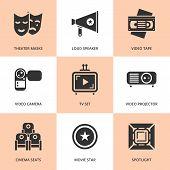 Set of black cinema movie icons.