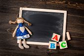 chalk board and letters ABC
