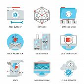 Global Data Technology Services Line Icons Set