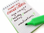 Paper with ways to lower cholesterol.
