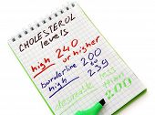 Paper  with cholesterol levels chart.