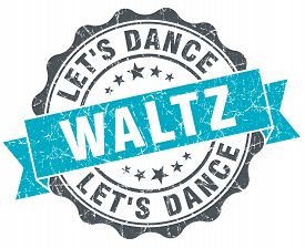 pic of waltzing  - waltz vintage turquoise seal isolated on white - JPG