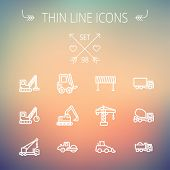picture of dump-truck  - Construction thin line icon set for web and mobile - JPG