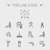 stock photo of hammer drill  - Construction thin line icon set for web and mobile - JPG