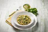 picture of pesto sauce  - spaghetti with green beans and pesto sauce - JPG