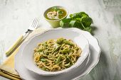 pic of pesto sauce  - spaghetti with green beans and pesto sauce - JPG
