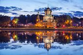 foto of trinity  - Trinity church reflecting in Ostankino pond in the evening Moscow Russia - JPG