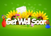foto of wishing-well  - vector illustration of Get well soon wallpaper background - JPG