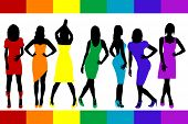 picture of shoes colorful  - Women silhouettes set with rainbow color dresses and shoes - JPG