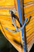 pic of old boat  - Metallic Shining Boat Anchor On a Wooden Old Boat - JPG