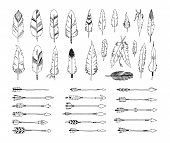 stock photo of tribal  - Hand drawn tribal collection with arrows and feathers for design logo - JPG