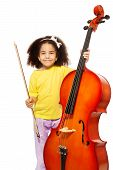 stock photo of cello  - African girl holding cello with fiddlestick ready to play standing on the white background - JPG