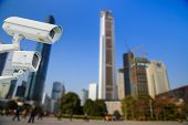 pic of cctv  - CCTV CCTV and infrared lamp for park near modern office tower - JPG