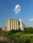 pic of silos  - Old factory with silo tanks for corn - JPG