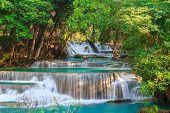 pic of waterfalls  - Waterfalls In Deep Forest at Huai Mae Khamin Waterfall in National Park Kanchanaburi Thailand - JPG