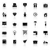 stock photo of fibonacci  - Art and creation icons with reflect on white background stock vector - JPG