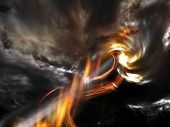 stock photo of polution  - Scene of the giant fire tornado falling from the sky - JPG