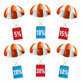 stock photo of parachute  - Vector illustration fly red and white parachute with paper bag sale card - JPG