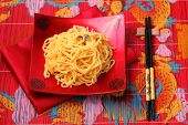pic of carbonara  - spaghetti carbonara served on a bamboo place mat - JPG