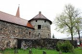 picture of fortified wall  - Towers and walls of a medieval fortified castle  - JPG