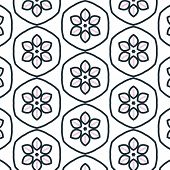 image of primitive  - Primitive simple retro seamless pattern with blossom bloom - JPG