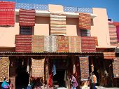 Moroccan Building with Carpets