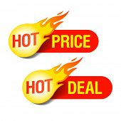 Hot Price and Hot Deal tags. Vector.