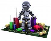 3D Render of a Robot With Capacitors Resistors and semi-conductors