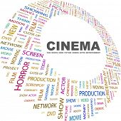 CINEMA. Word collage on white background. Illustration with different association terms.